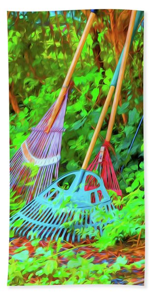 Beach Towel featuring the photograph Lawn Tools by Tom Singleton