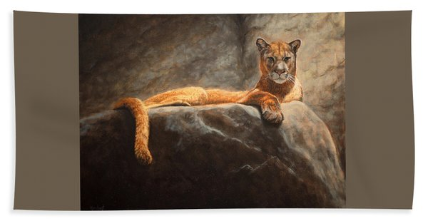 Laying Cougar Beach Towel