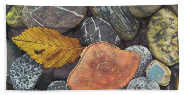 Leaf And Crab Shell Beach Towel
