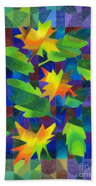Leaf Mosaic Drawing Beach Towel