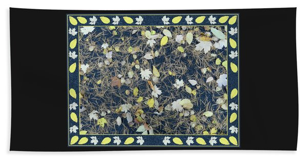 Leaves And Needles On Pavement With Border Beach Towel