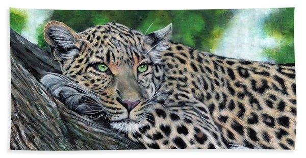 Leopard On Branch Beach Towel