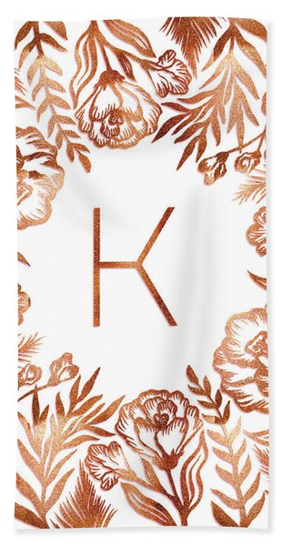 Letter K - Rose Gold Glitter Flowers Beach Sheet
