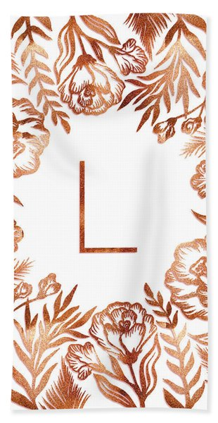 Letter L - Rose Gold Glitter Flowers Beach Sheet