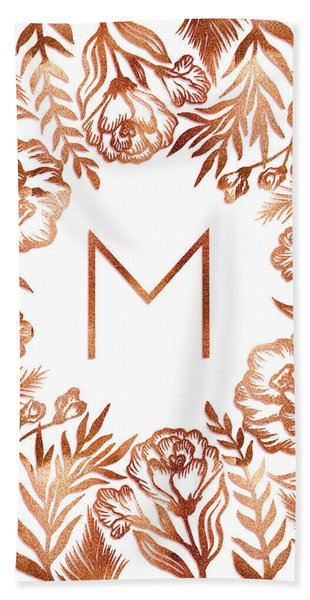 Letter M - Rose Gold Glitter Flowers Beach Sheet