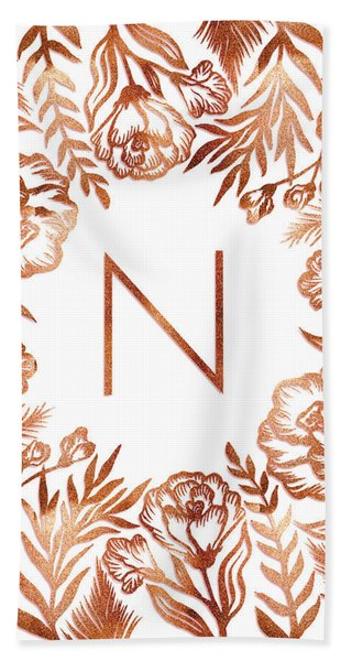 Letter N - Rose Gold Glitter Flowers Beach Sheet
