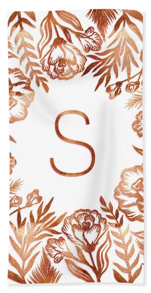 Letter S - Rose Gold Glitter Flowers Beach Sheet