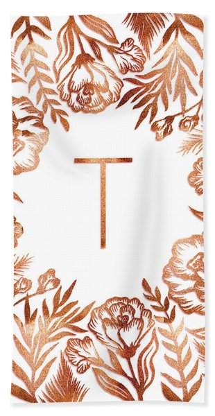 Letter T - Rose Gold Glitter Flowers Beach Sheet