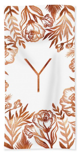 Letter Y - Rose Gold Glitter Flowers Beach Sheet