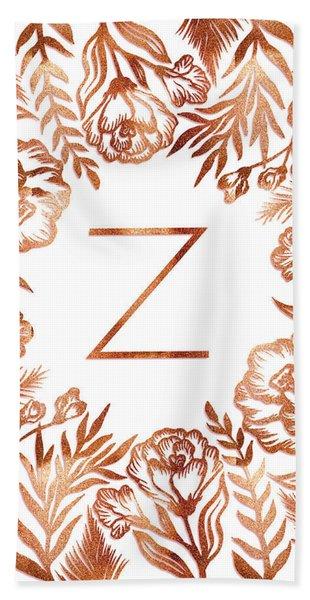 Letter Z - Faux Rose Gold Glitter Flowers Beach Towel
