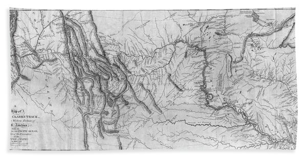 Lewis And Clark Hand-drawn Map Of The Unknown 1804 Beach Towel