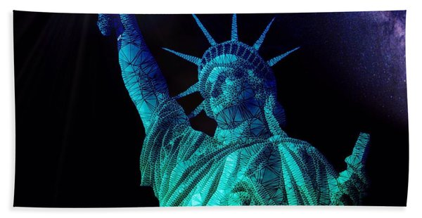 Beach Towel featuring the painting Liberty Sky by Mark Taylor