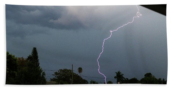 Lightning Bolt Illuminates The Sky Beach Towel