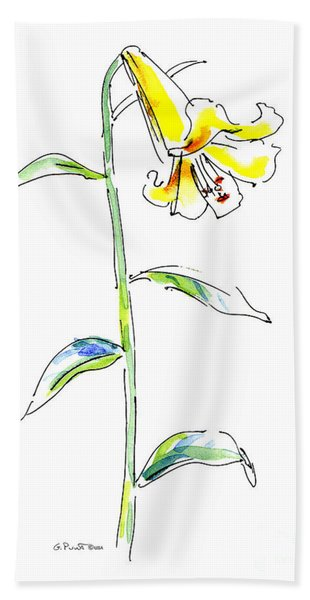 Lily Watercolor Painting 2 Beach Towel