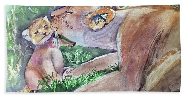 Lion And Cub Beach Towel