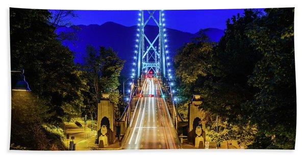Lions Gate Bridge At Night Beach Towel