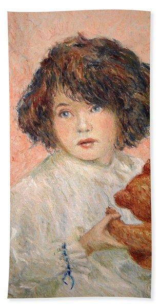 Little Girl With Bear Beach Sheet