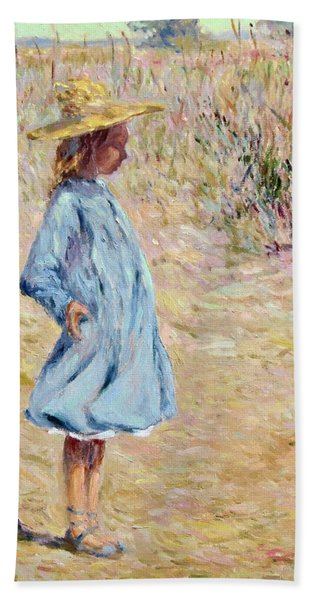 Little Girl With Blue Dress Beach Towel