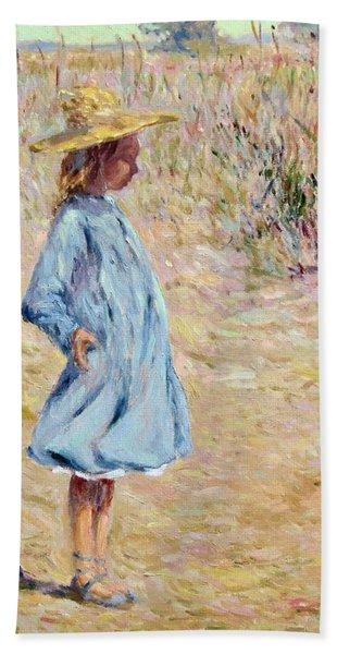 Little Girl With Blue Dress Beach Sheet