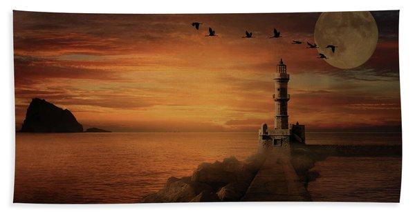 Llight House By Moonlight Beach Towel