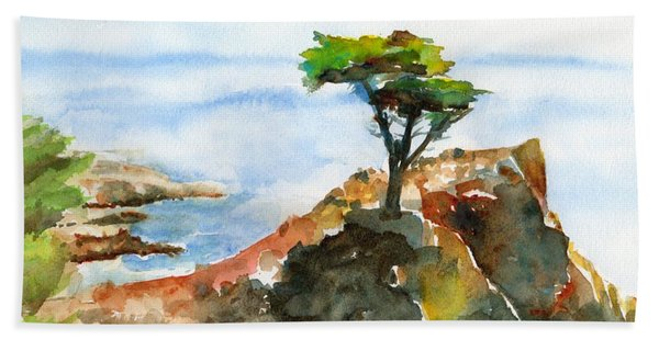 Lone Cypress Pebble Beach Fog Beach Towel