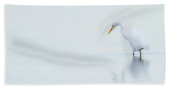 Lonely Egret Beach Towel