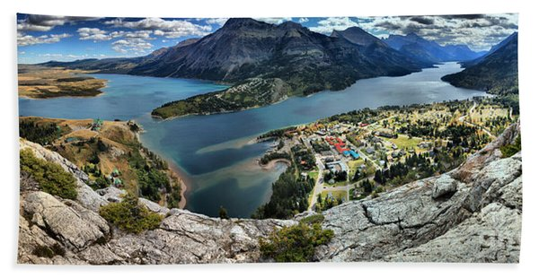 Looking Down On Waterton Lakes Beach Towel
