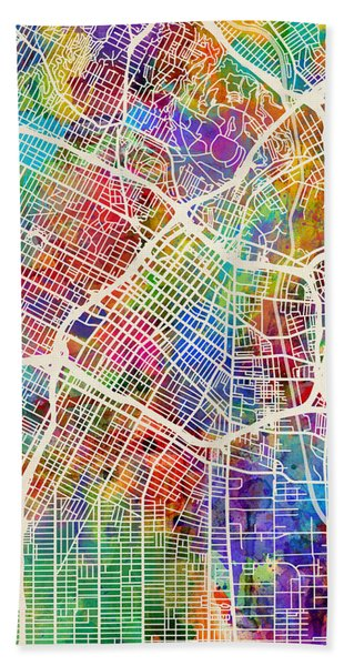 Los Angeles City Street Map Beach Towel