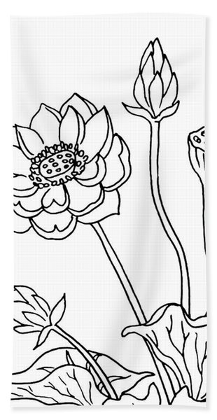 Lotus Flowers Drawing  Beach Towel