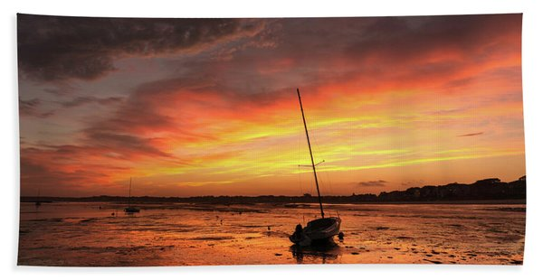 Low Tide Sunset Sailboats Beach Towel