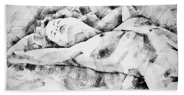 Lying Woman Figure Drawing Beach Towel