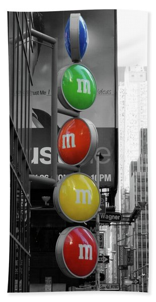 M And Ms In New York City Beach Towel