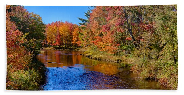 Beach Towel featuring the photograph Maine Brook In Afternoon With Fall Color Reflection by Jeff Folger