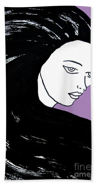 Majestic Lady J0715h Radient Orchid Pastel Painting 18-3224 B565a7 A985bb Beach Towel
