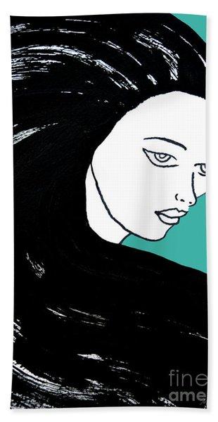 Majestic Lady J0715k Turquoise Green Pastel Painting 15-5519 41b6ab Beach Towel