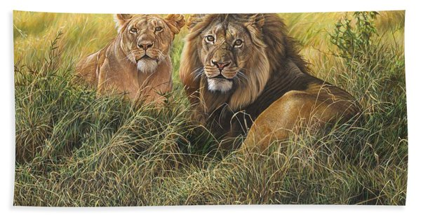 Male And Female Lion Beach Towel