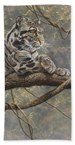 Male Clouded Leopard Beach Towel