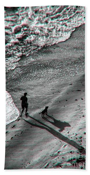Man And Dog On The Beach Beach Towel