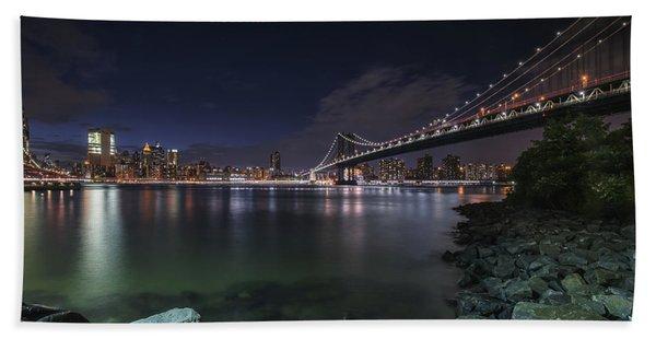 Manhattan Bridge Twinkles At Night Beach Sheet