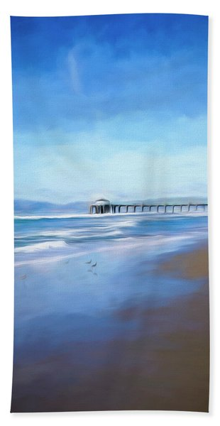 Beach Towel featuring the photograph Manhattan Pier Blue Art by Michael Hope