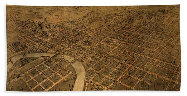 Map Of Columbus Ohio Vintage Street Schematic Birds Eye View On Worn Parchment Beach Towel