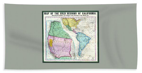 Map Of The Gold Regions Of California Beach Towel