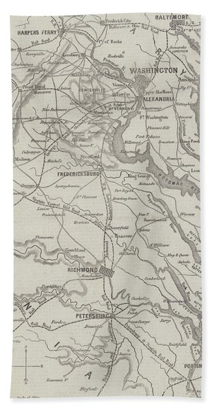Map Of The Seat Of War In Virginia, 31st August 1861 Beach Towel