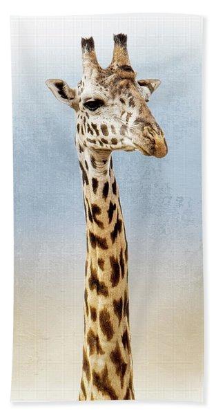 Masai Giraffe Closeup Square Beach Towel