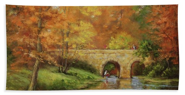 Beach Towel featuring the painting Memories At Stone Bridge by Judy Bradley