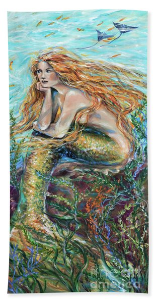 Mermaid Contemplating Beach Towel