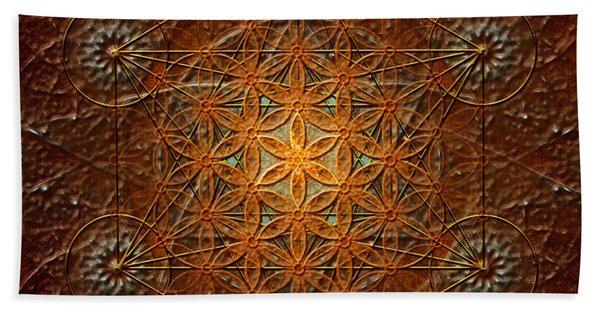 Metatron's Cube Inflower Of Life Beach Towel