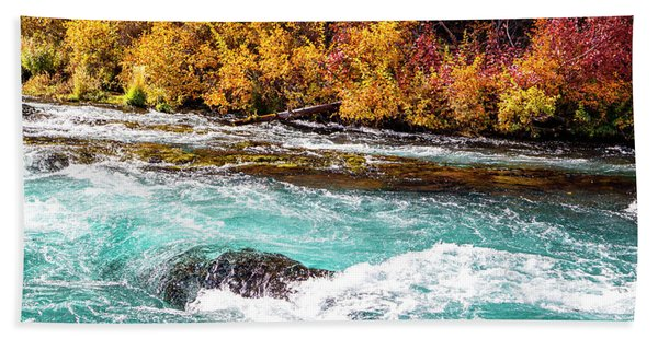 Beach Towel featuring the photograph Metolius River by David Millenheft