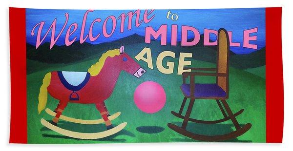 Middle Age Birthday Card Beach Sheet