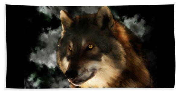 Midnight Stare - Wolf Digital Painting Beach Towel